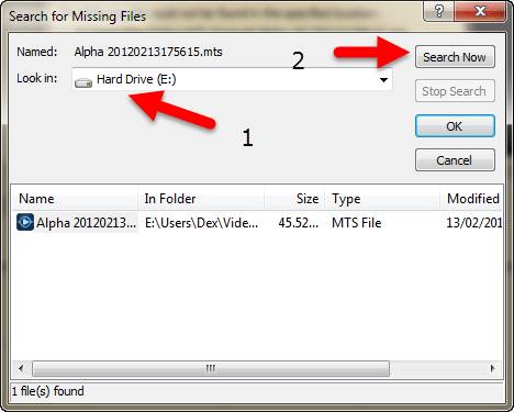 Search for missing files - Window 2
