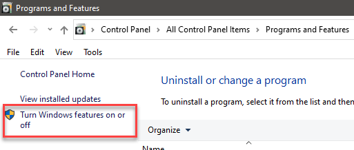 turn windows features on off