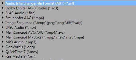 Movie Studio - Output Formats #1