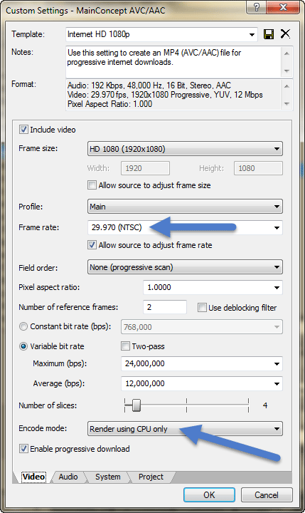 Video Settings tab