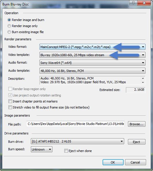Blu-ray Output Settings