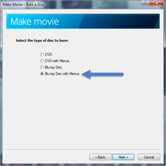 Make Movie - select BR+menu