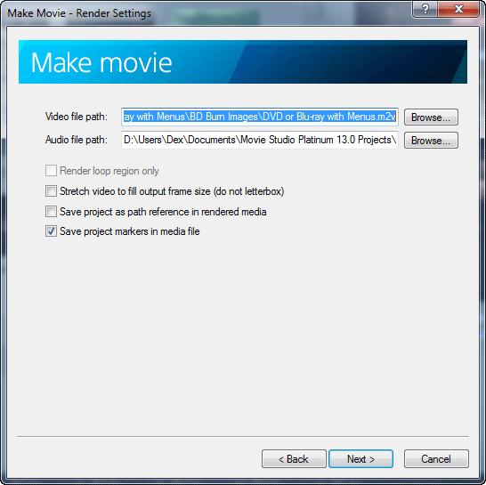Make Movie - options