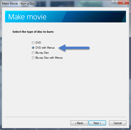 Make Movie - select option