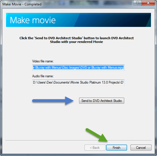 Make Movie - send to DVD Architect
