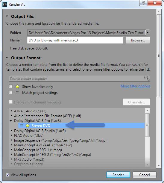 sony vegas pro 13 render settings for dvd