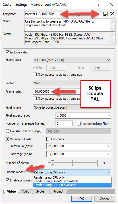 50 fps Double PAL Settings