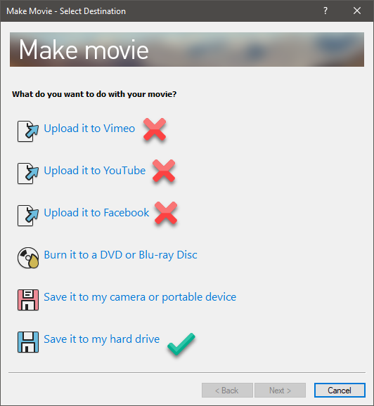 make movie options