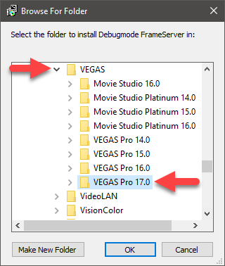 debug frameserver setup installer - selecting version of vegas you want to use