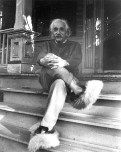 albert einstein sits on porch of his home tn