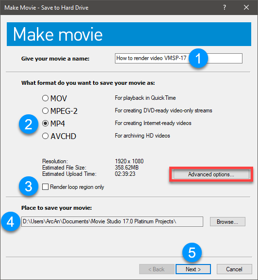 make movie save to hard drive