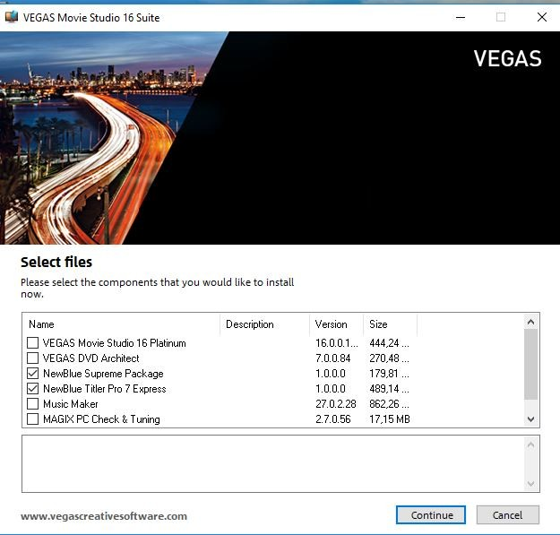 Vegas Movie Studio 16 stops loading when creating windows